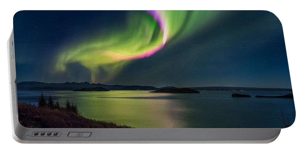 Photography Portable Battery Charger featuring the photograph Northern Lights Over Thingvallavatn Or by Panoramic Images