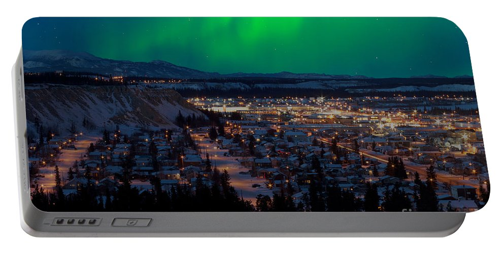 Canada Portable Battery Charger featuring the photograph Northern Lights Over Whitehorse by Stephan Pietzko