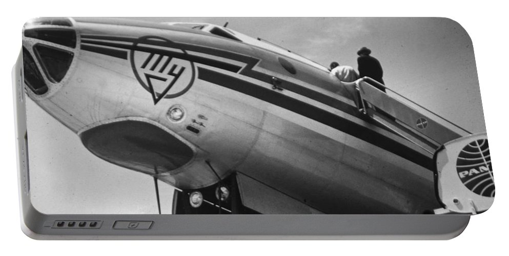 Aviation Portable Battery Charger featuring the photograph Nose Tu-114 Rossiya by John Schneider