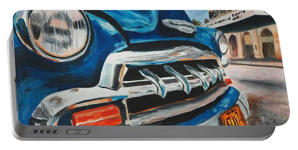 Cars Portable Battery Charger featuring the painting Nostalgia Road by Frankie Picasso