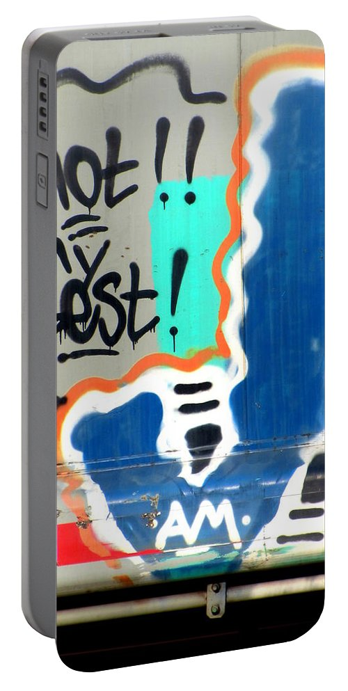 Train Portable Battery Charger featuring the photograph Not My Best Graffiti 1 by Anita Burgermeister