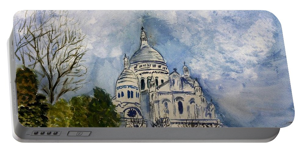 Architecture Portable Battery Charger featuring the painting Sacre Coeur In Paris by Donna Walsh