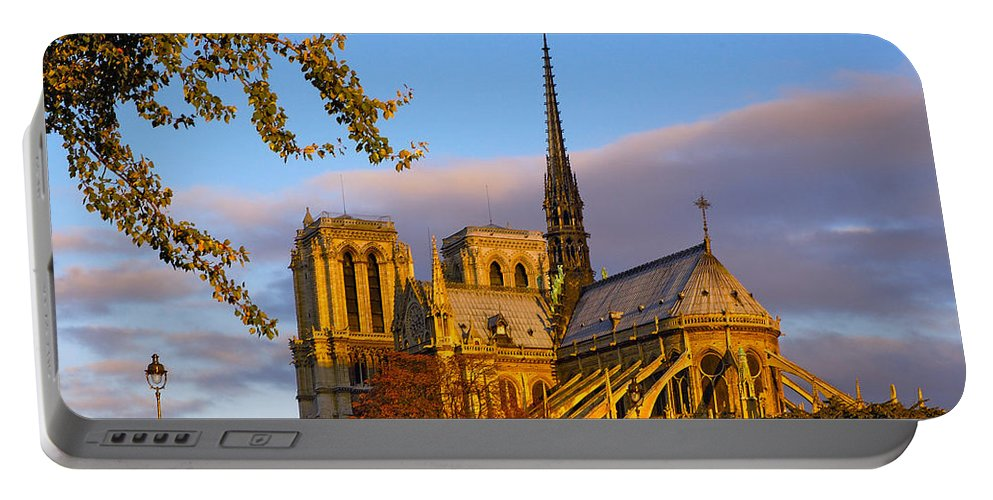Paris Portable Battery Charger featuring the photograph Notre Dame Sunrise by Mick Burkey