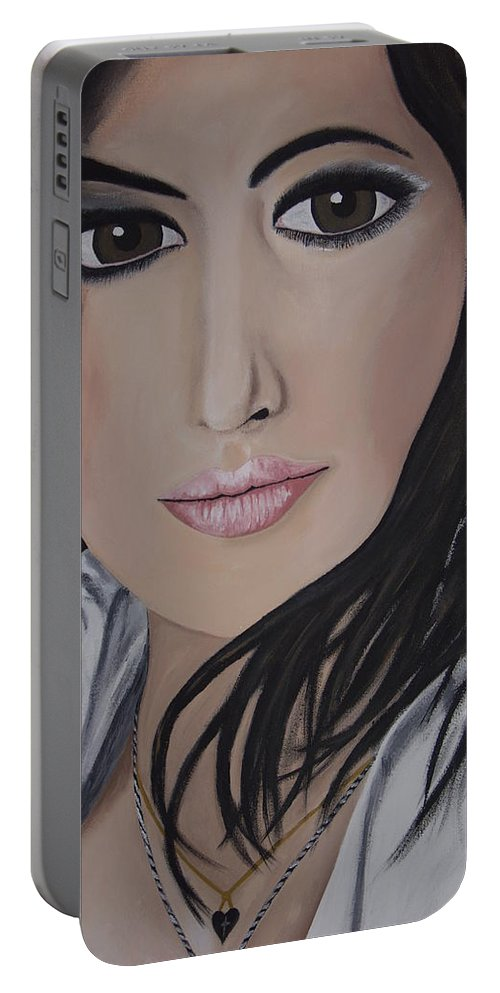 Actress Portable Battery Charger featuring the painting Noureen Dewulf by Dean Stephens