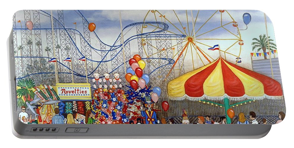 Carnival Portable Battery Charger featuring the painting Novelties At The Carnival by Linda Mears