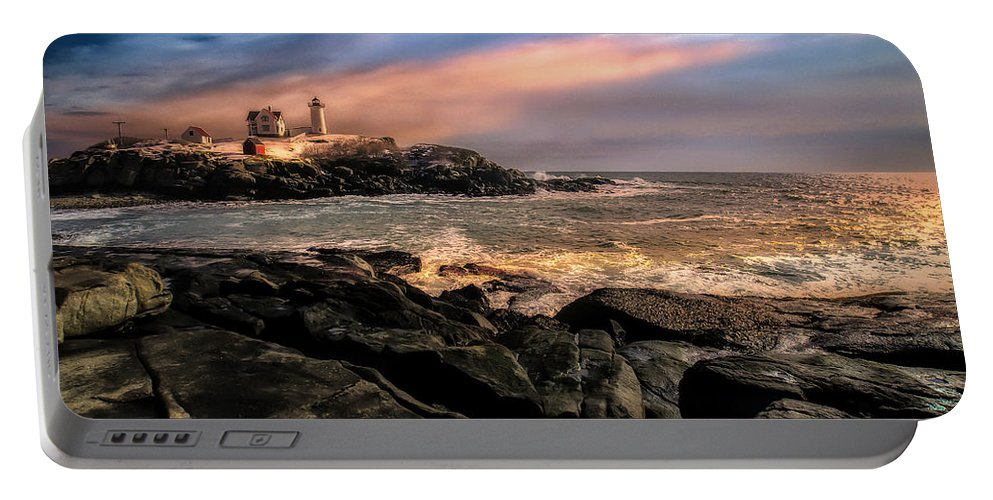 Nubble Portable Battery Charger featuring the photograph Nubble Lighthouse Winter Solstice Sunset by Bob Orsillo