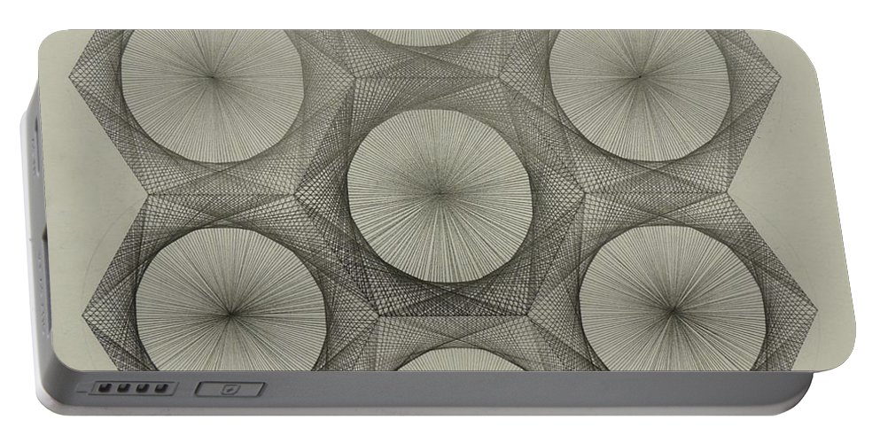 Nuclear Portable Battery Charger featuring the drawing Nuclear Fusion by Jason Padgett