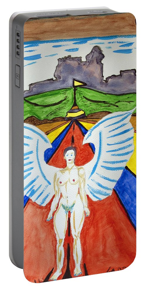 Nude Angel Portable Battery Charger featuring the painting Nude Angel Road by Stormm Bradshaw