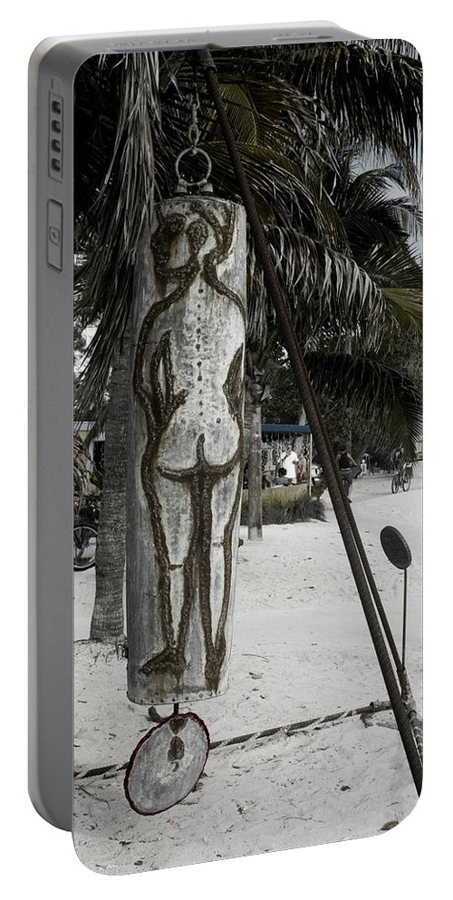 Black And White Portable Battery Charger featuring the photograph Nude Beach by Kathleen Odenthal