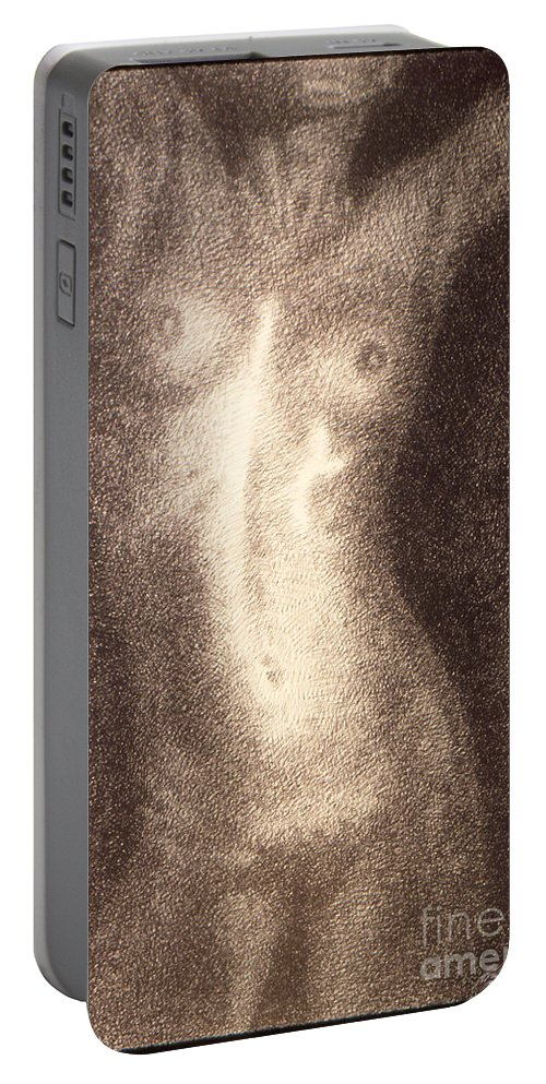 Sketches Portable Battery Charger featuring the drawing Nude Female Torso Drawings 5 by Gordon Punt