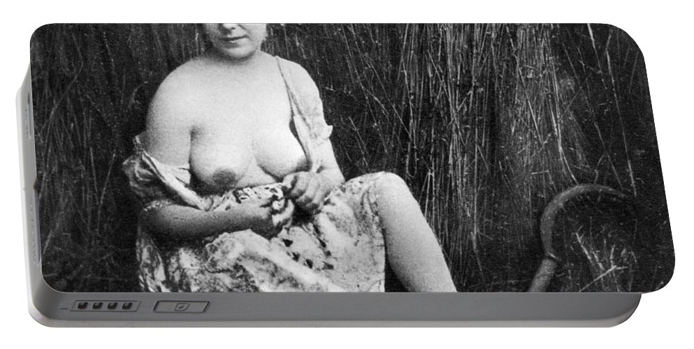 1850 Portable Battery Charger featuring the photograph Nude In Field, C1850 by Granger
