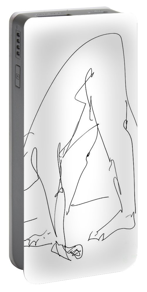 Male Portable Battery Charger featuring the drawing Nude Male Drawings 32 by Gordon Punt