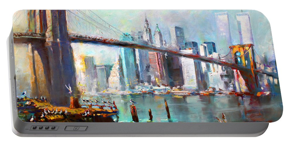 Nyc Portable Battery Charger featuring the painting NY City Brooklyn Bridge II by Ylli Haruni