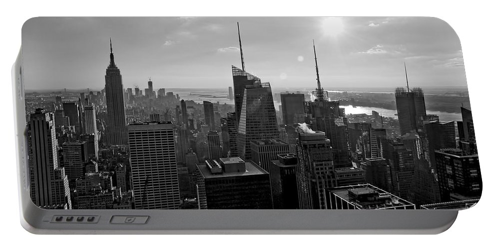 Black And White Portable Battery Charger featuring the photograph Ny Times Skyline Bw by S Paul Sahm