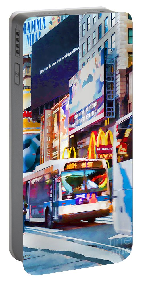 New York Times Square Portable Battery Charger featuring the photograph Ny Times Square Impressions Iv by Regina Geoghan
