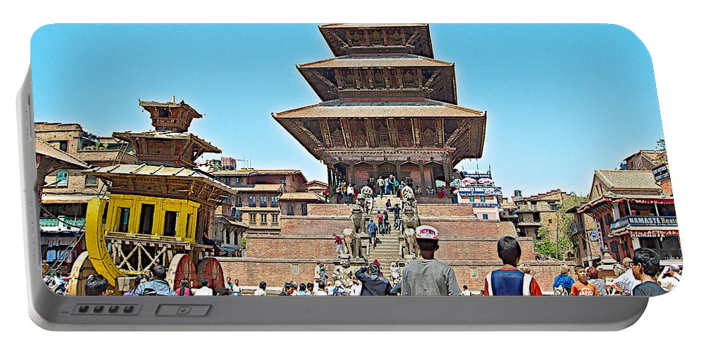 Nyatapola-tallest Pagoda In Nepal-in Bhaktapur Durbar Square In Bhaktapur-city Of Devotees-in Nepal Portable Battery Charger featuring the photograph Nyatapola-tallest Pagoda In Nepal-in by Ruth Hager