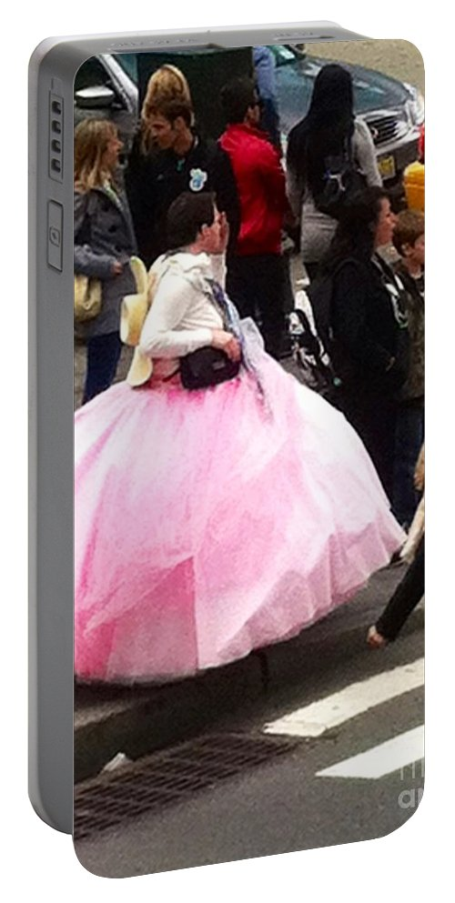 Pink Ball Gown Portable Battery Charger featuring the photograph Nyc Ball Gown Walk by Susan Garren