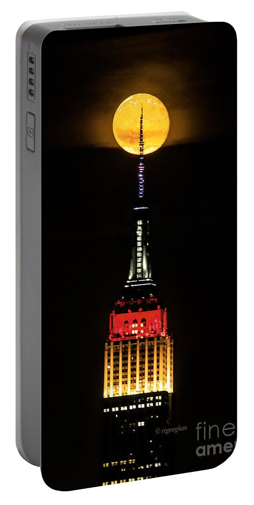 Germany Colors World Cup Portable Battery Charger featuring the photograph Nyc Moonstruck For World Cup by Regina Geoghan