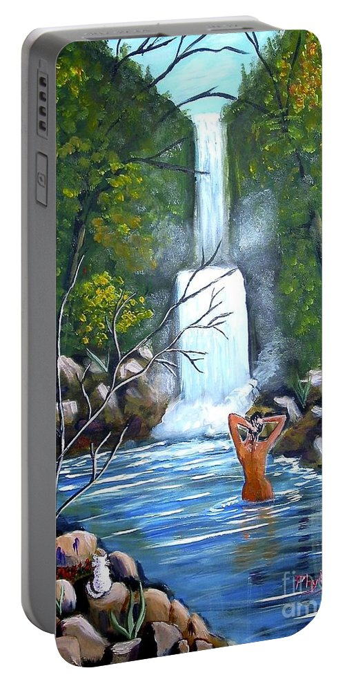 Waterfall Portable Battery Charger featuring the painting Nymph In Pool by Phyllis Kaltenbach