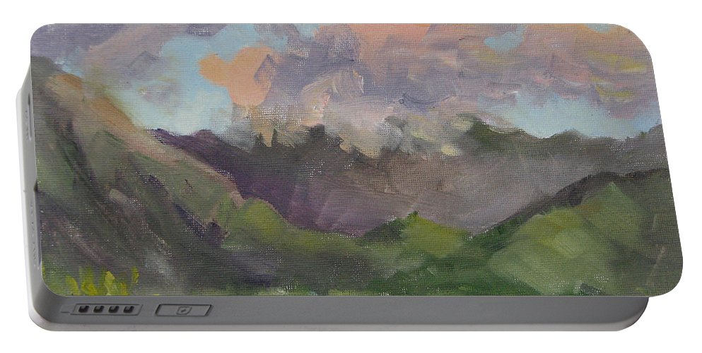 Hawaii Portable Battery Charger featuring the painting Oahu Sunrise by Karin Leonard