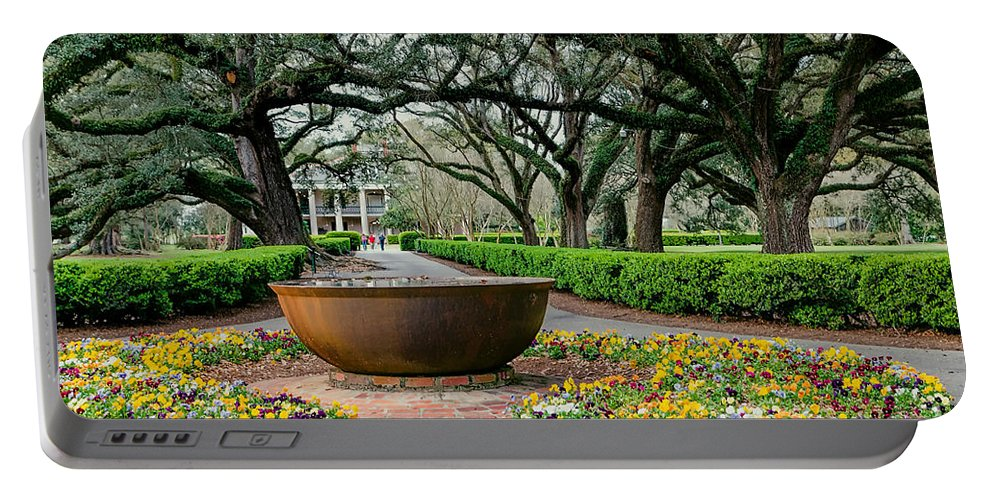 Oak Alley Portable Battery Charger featuring the photograph Oak Alley Landscape In Vacherie Louisiana by Kathleen K Parker