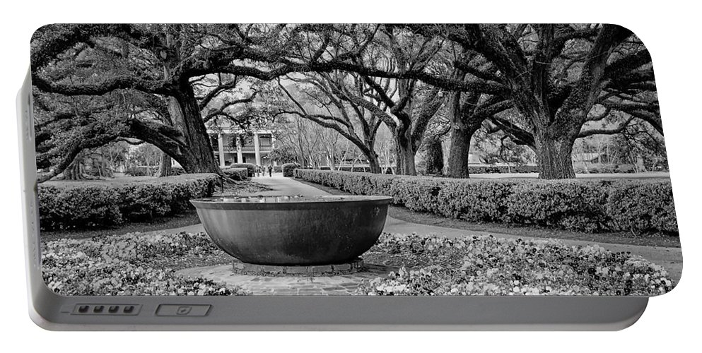 Oak Alley Portable Battery Charger featuring the photograph Oak Alley Plantation Landscape In Bw by Kathleen K Parker