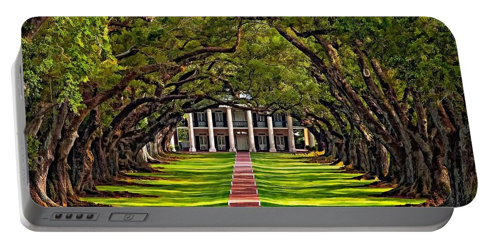 Oak Alley Plantation Portable Battery Charger featuring the photograph Oak Alley by Steve Harrington