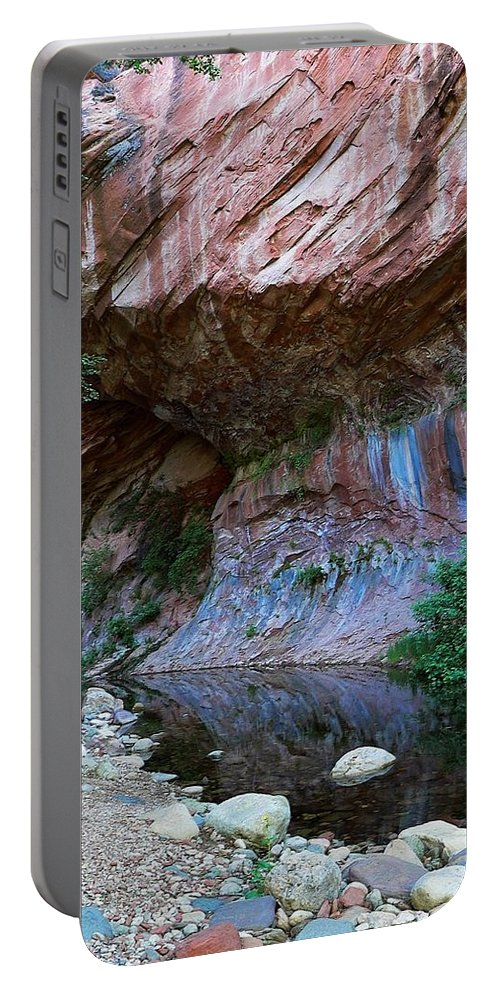 Arizona Portable Battery Charger featuring the photograph Oak Creek Rocks by Steve Ondrus