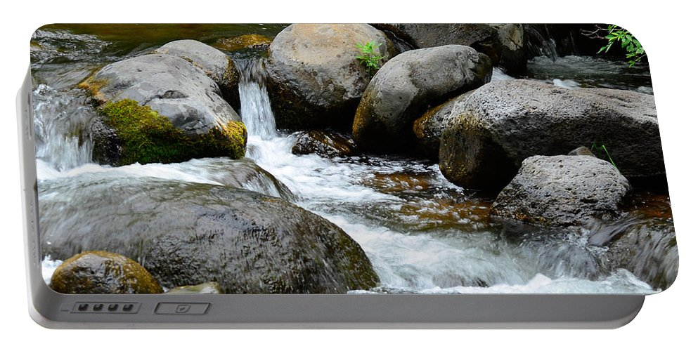 Oak Creek Portable Battery Charger featuring the photograph Oak Creek Water And Rocks by Michael Moriarty