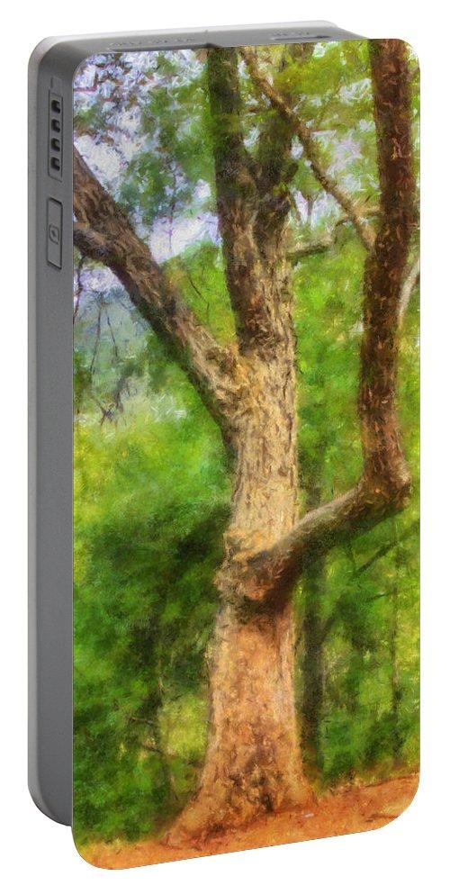 Oak Tree Portable Battery Charger featuring the digital art Oak On The Etowah by Daniel Eskridge