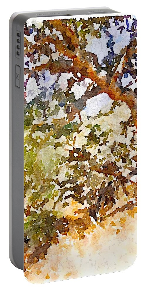 Waterlogue Portable Battery Charger featuring the digital art Oak by Shannon Grissom