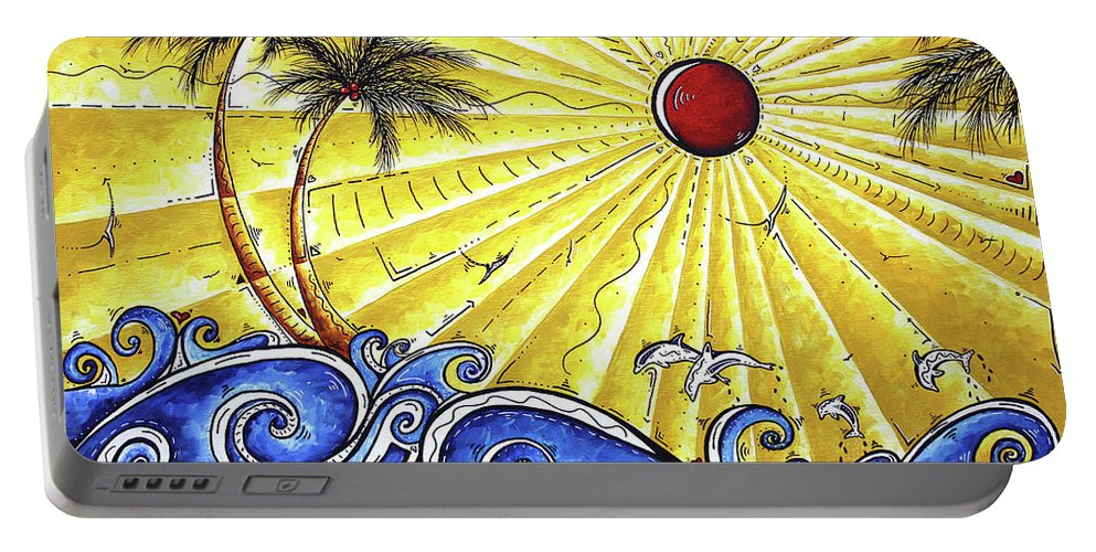 Tropical Portable Battery Charger featuring the painting Ocean Fury By Madart by Megan Duncanson