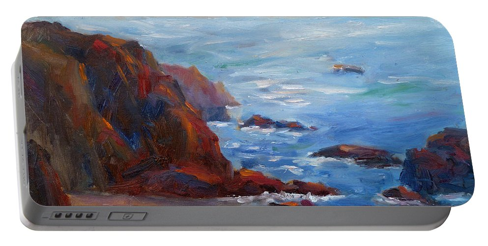 Ocean Light Portable Battery Charger featuring the painting Ocean Light by Carolyn Jarvis