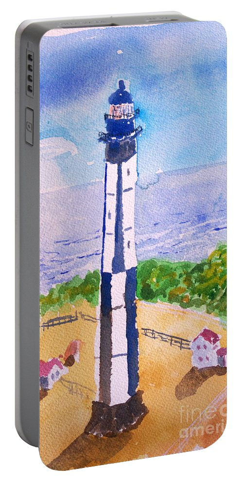 Lighthouse Portable Battery Charger featuring the painting Ocean Lighthouse by Walt Brodis