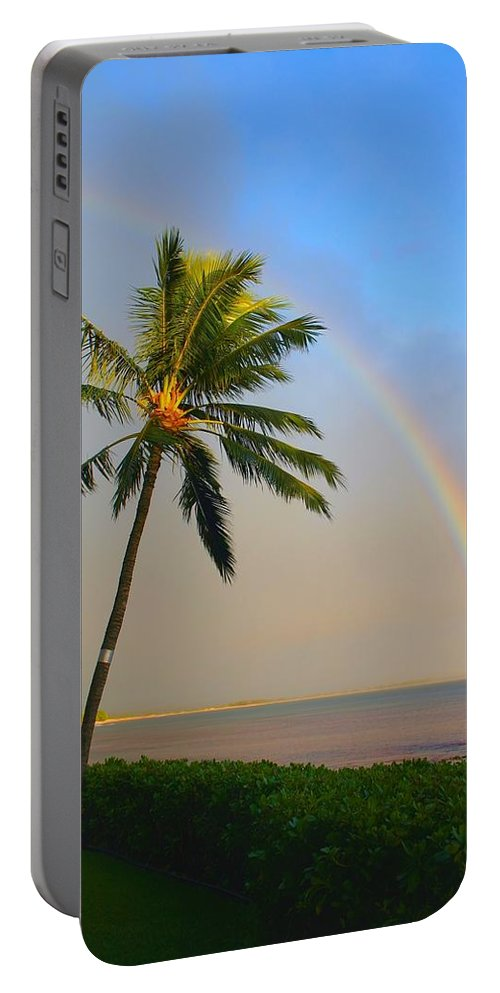 Ocean Portable Battery Charger featuring the photograph Ocean Rainbow Maui by Charles Owens