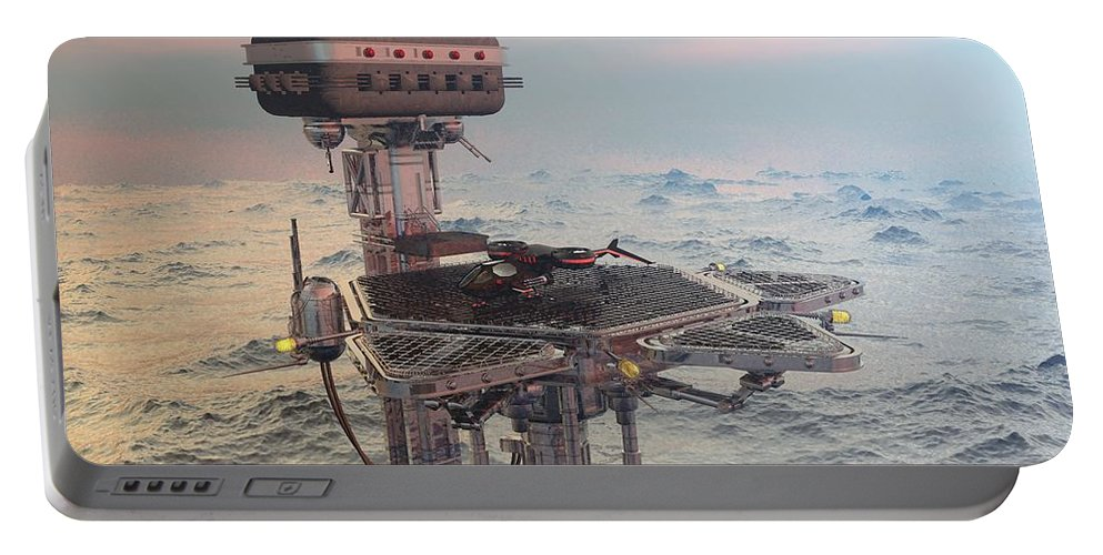 Digital Art Portable Battery Charger featuring the digital art Ocean Refueling Platform by Michael Wimer