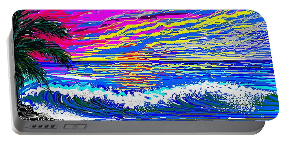 Ocean Sunset Quickly Sketched In 3 Hours. Portable Battery Charger featuring the digital art Ocean Sunset by Larry Lehman
