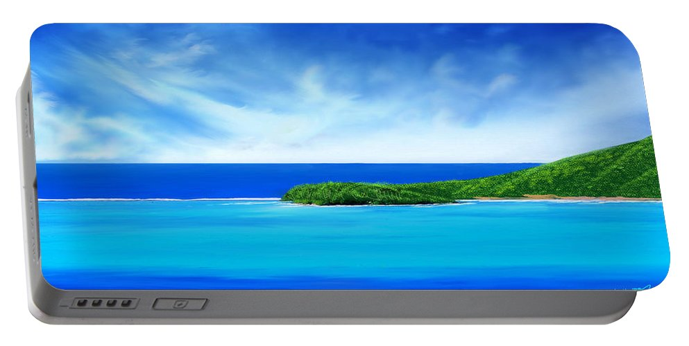 Tropical.tropical Island.tropical Island Print.ocean.ocean Print.turquois Sea.turquois Water.seascape Portable Battery Charger featuring the digital art Ocean Tropical Island by Anthony Fishburne