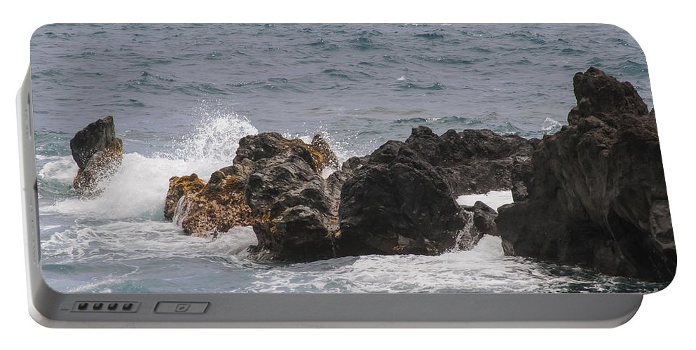 Water Wave Waves Pacific Ocean Oceans Sea Seas Rock Rocks Wai'anapanapa State Park Road To Hana Maui Hawaii Waterscape Waterscapes Portable Battery Charger featuring the photograph Ocean View At Wai'anapanapa State Park by Bob Phillips