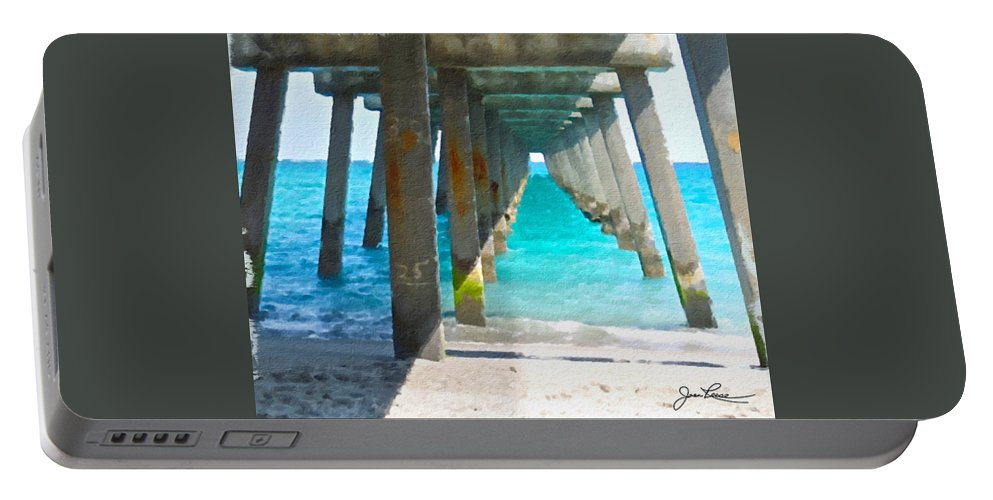 Miami Beach Portable Battery Charger featuring the painting Ocean View by Joan Reese