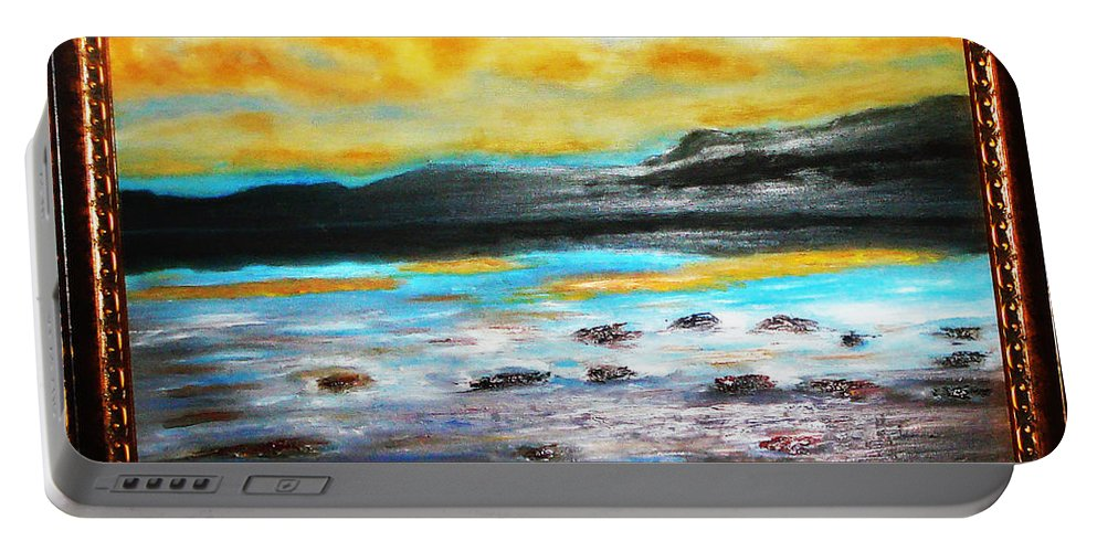 Oil Painting Portable Battery Charger featuring the painting Ocean View by Yael VanGruber