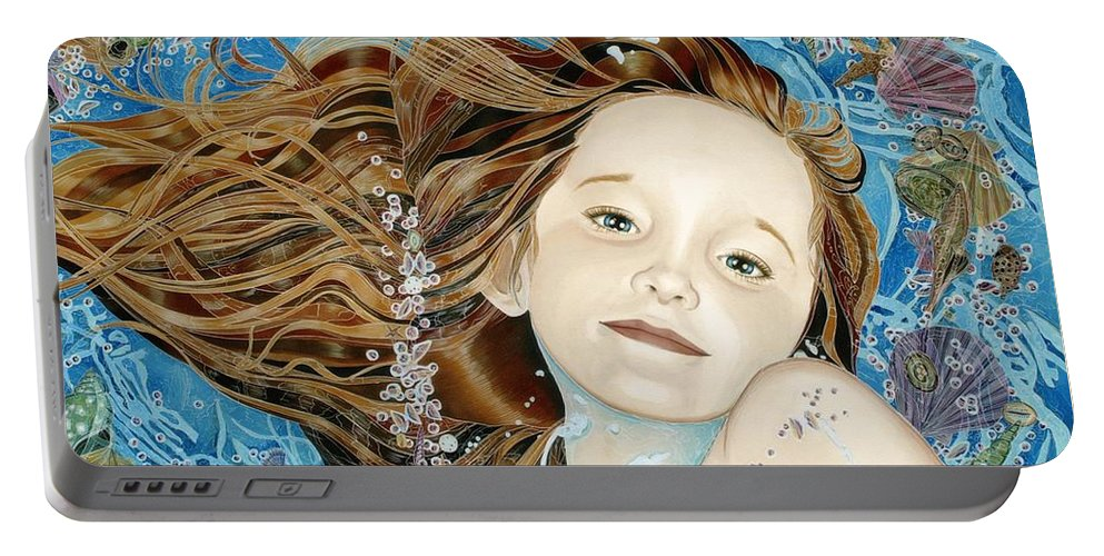 Nancy M. Garrett Portable Battery Charger featuring the painting Oceans Of Emotion by Nancy M Garrett