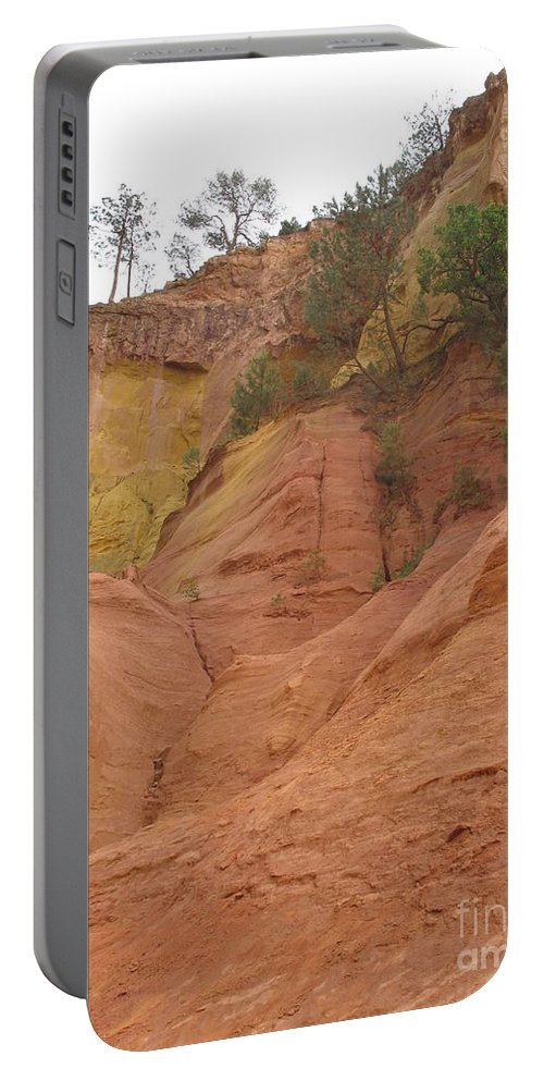 Red Rocks Portable Battery Charger featuring the photograph Ochre Rocks Roussillon by Christiane Schulze Art And Photography