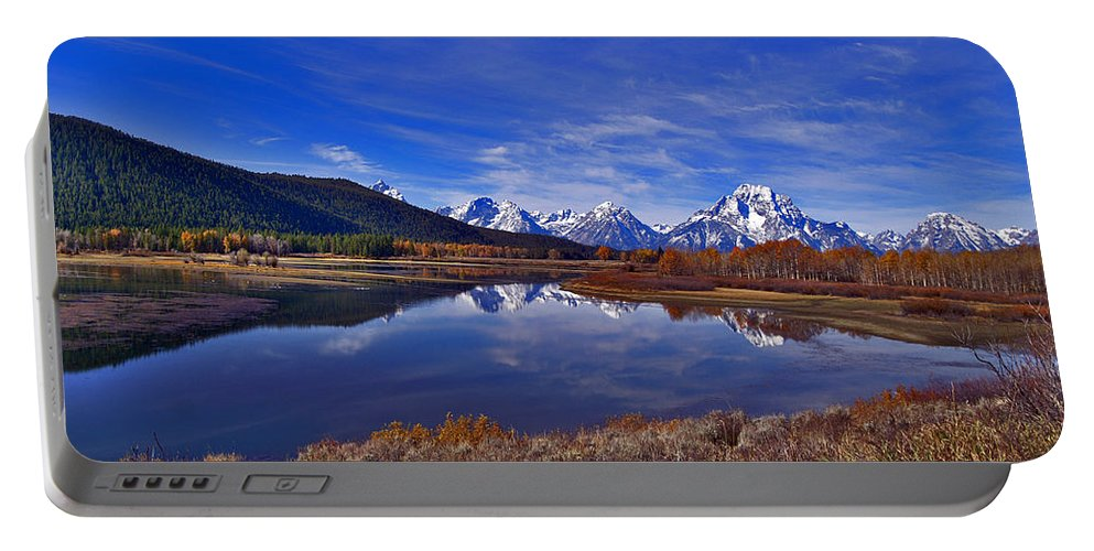 Reflections Portable Battery Charger featuring the photograph October At Oxbow by Jeremy Rhoades