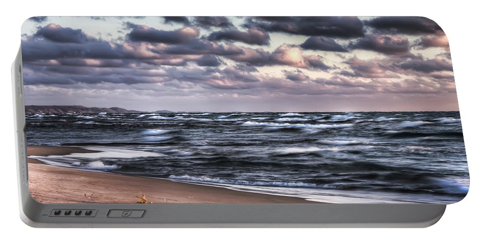 Michigan Portable Battery Charger featuring the photograph October At The Beach Saugatuck Michigan by Evie Carrier
