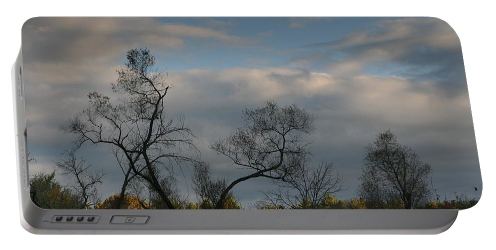 October Portable Battery Charger featuring the photograph October River Reflections by Neal Eslinger
