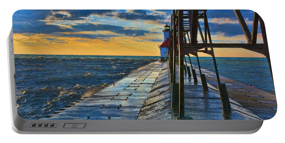 Lighthouse Portable Battery Charger featuring the painting October Sunset At St. Joseph Lighthouse - Simulated Oil by S Michael Basly