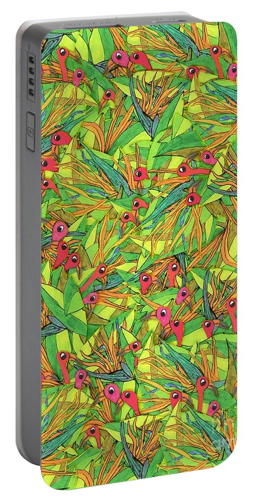 Birds Portable Battery Charger featuring the painting Odd Birds Of Paradise by Maggie Pringle
