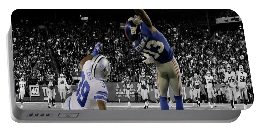 Odell Beckham Portable Battery Charger featuring the photograph Odell Beckham Greatest Catch Ever by Brian Reaves