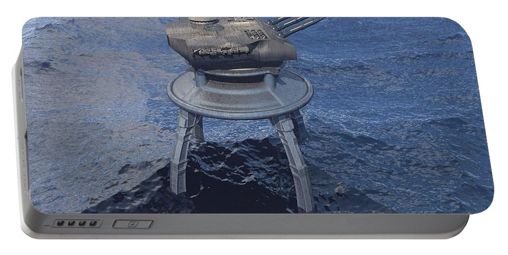 Digital Art Portable Battery Charger featuring the digital art Offshore Turret by Michael Wimer